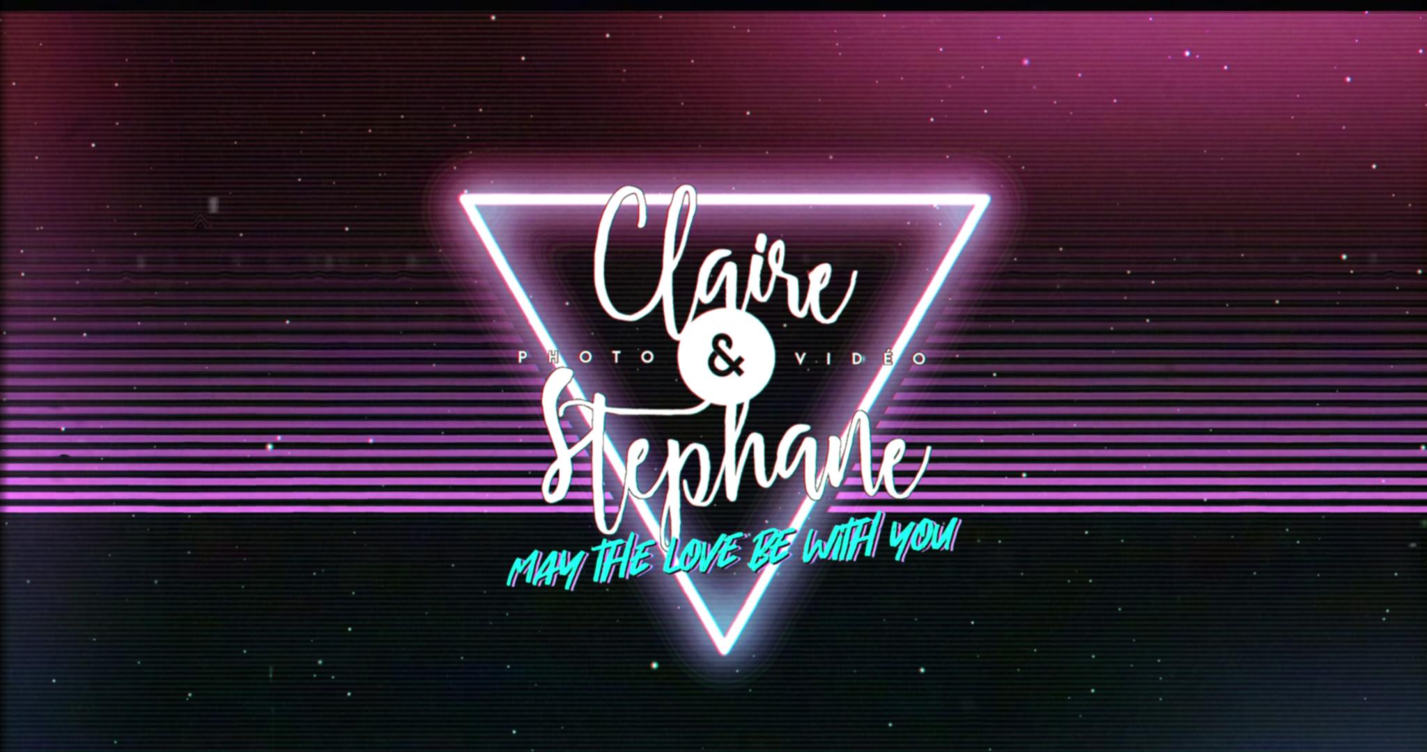 Logo de Claire et Stéphane, photographe et vidéaste de mariage, façon 80's